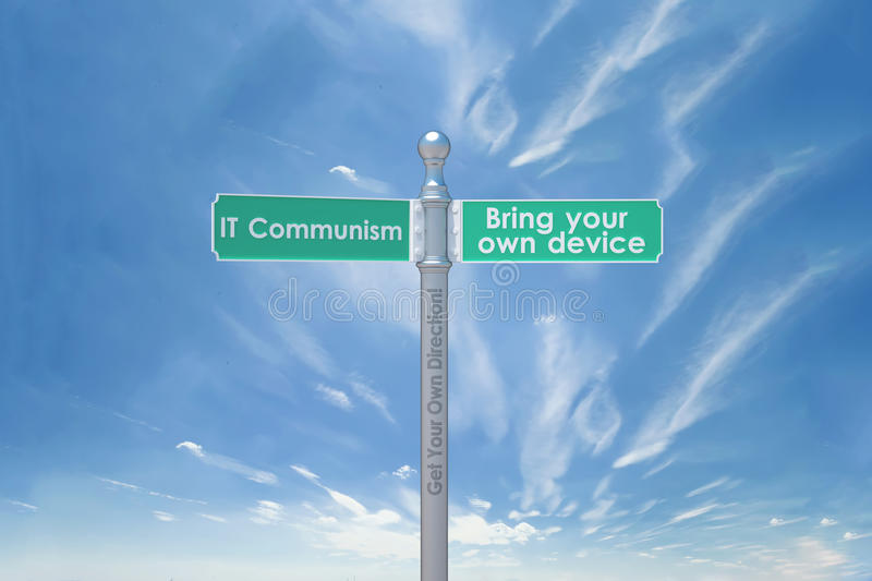 BYOD IT communism. 3d signs for BYOD concept - Bring your on device royalty free illustration