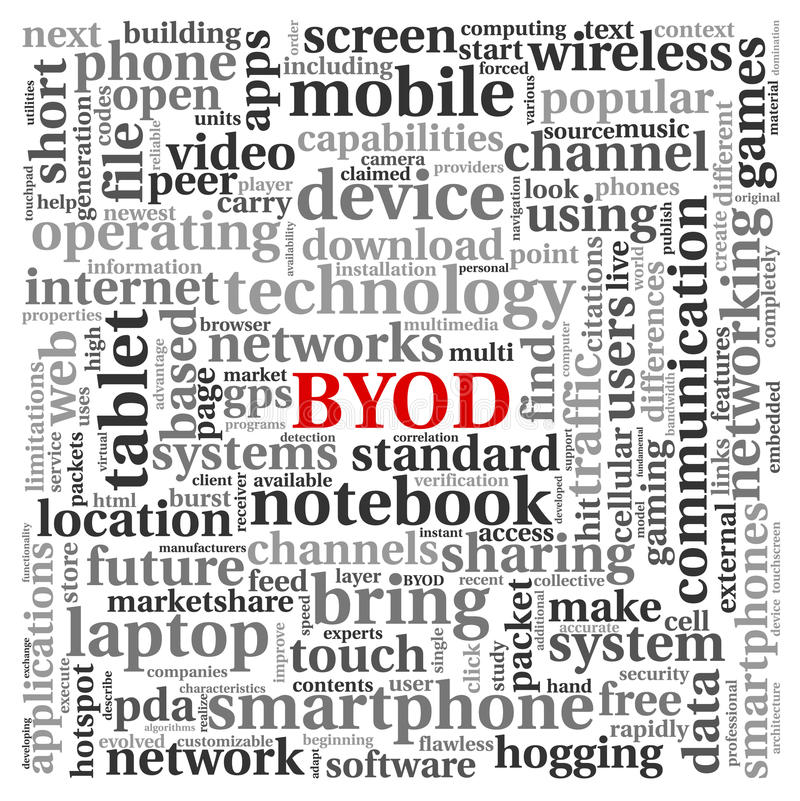 BYOD concept in tag cloud. BYOD - bring your own device concept in tag cloud royalty free illustration