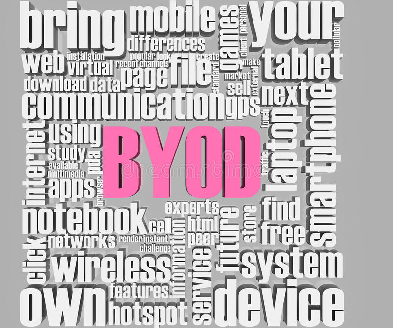 BYOD 3d words. BYOD related words. Part of a series of business concepts stock illustration