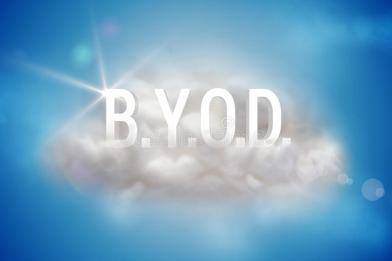 BYOD on a floating cloud. On blue background vector illustration