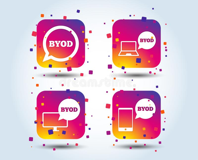 BYOD signs. Notebook and smartphone icons. BYOD icons. Notebook and smartphone signs. Speech bubble symbol. Colour gradient square buttons. Flat design concept royalty free illustration