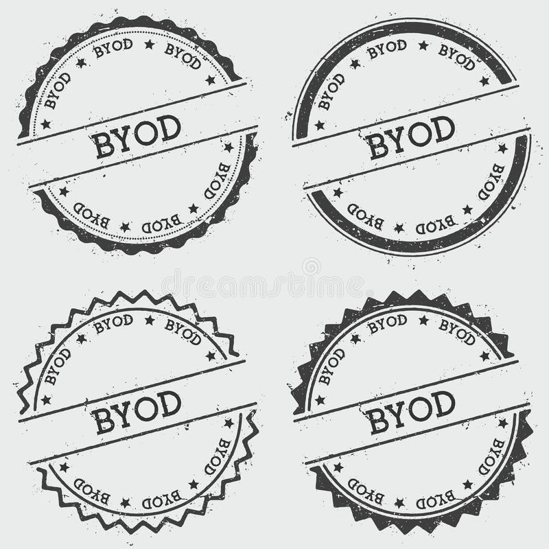 Byod insignia stamp isolated on white background. Grunge round hipster seal with text, ink texture and splatter and blots, vector illustration stock illustration