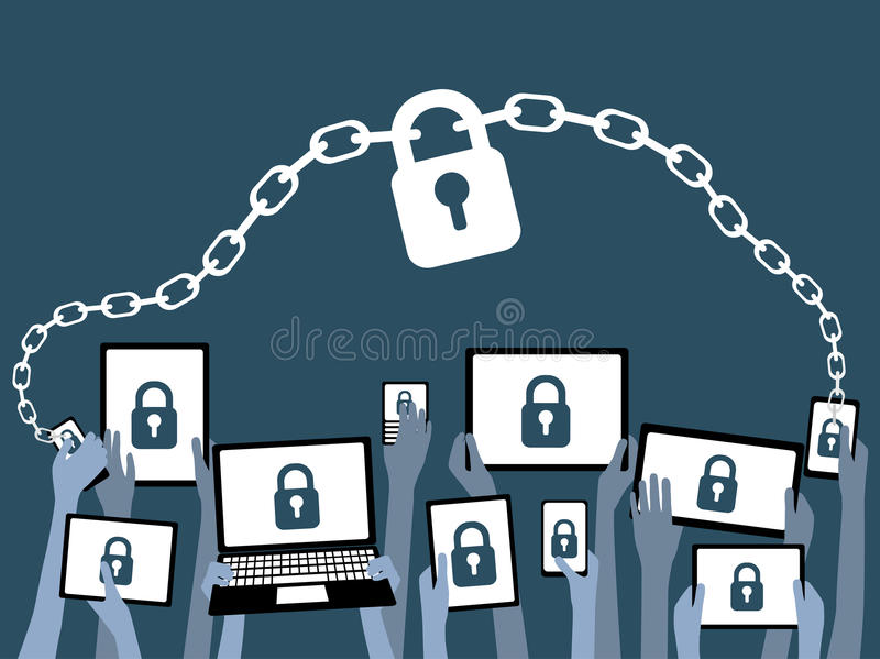 BYOD kommer med dina egna apparatsäkerhetsblått royaltyfri illustrationer