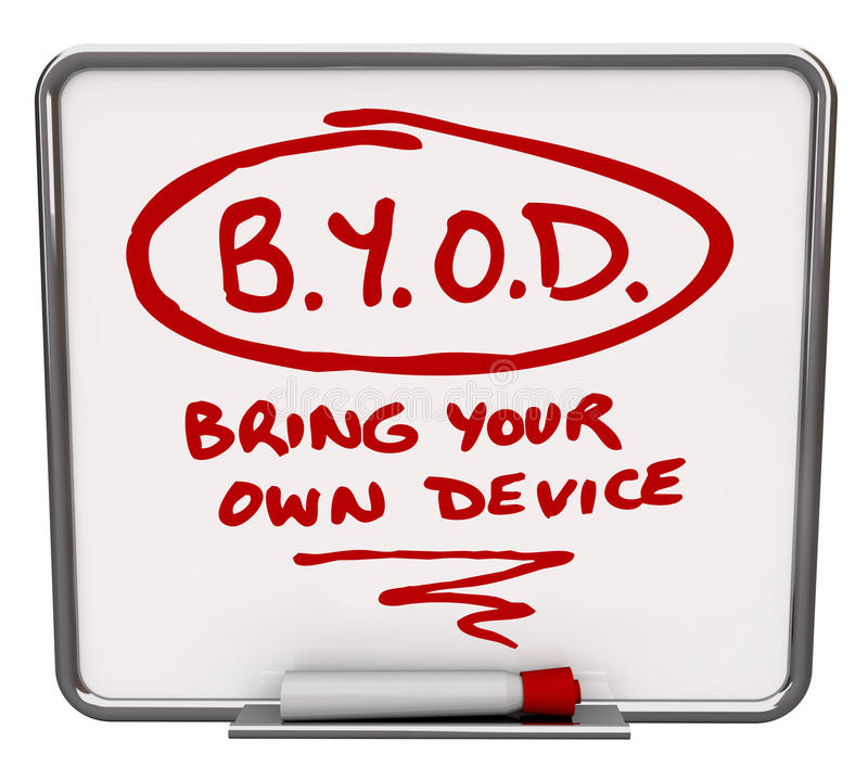 BYOD Message Board Company Policy Bring Your Own Device. BYOD company policy written on a dry erase message board to share the word about a workplace allowing stock illustration