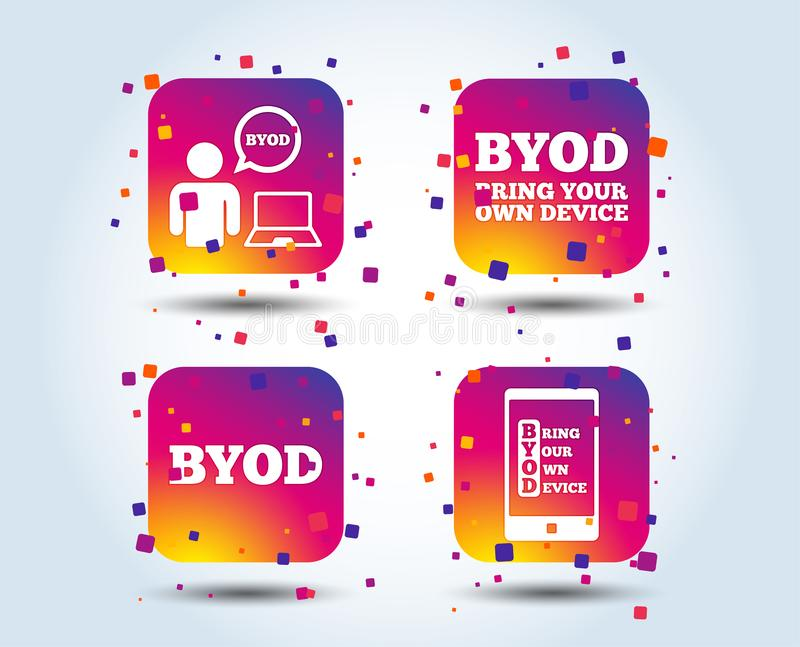 BYOD signs. Human with notebook and smartphone. BYOD icons. Human with notebook and smartphone signs. Speech bubble symbol. Colour gradient square buttons. Flat royalty free illustration