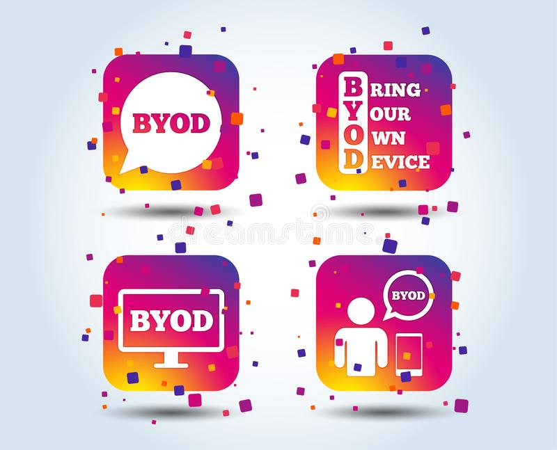 BYOD signs. Human with notebook and smartphone. BYOD icons. Human with notebook and smartphone signs. Speech bubble symbol. Colour gradient square buttons. Flat vector illustration
