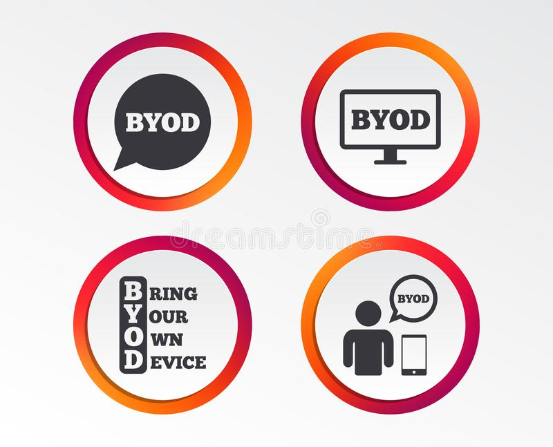 BYOD signs. Human with notebook and smartphone. BYOD icons. Human with notebook and smartphone signs. Speech bubble symbol. Infographic design buttons. Circle stock illustration