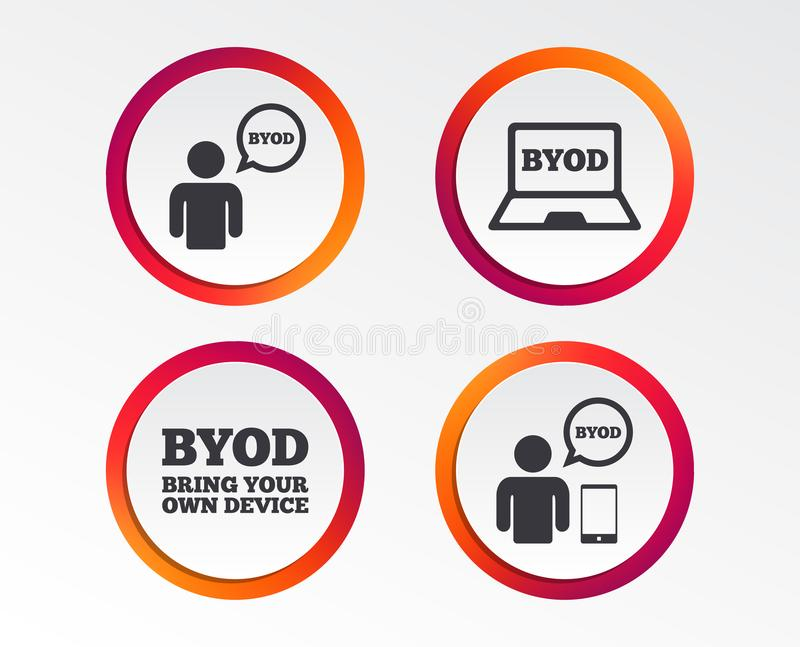 BYOD signs. Human with notebook and smartphone. BYOD icons. Human with notebook and smartphone signs. Speech bubble symbol. Infographic design buttons. Circle royalty free illustration