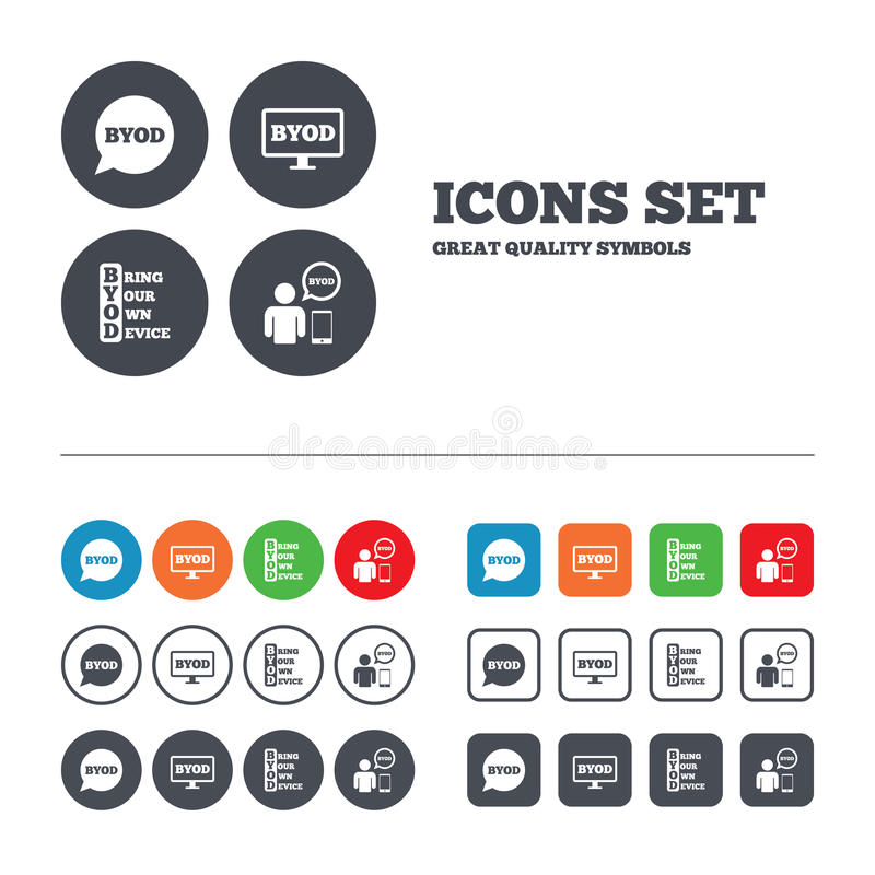 BYOD signs. Human with notebook and smartphone. BYOD icons. Human with notebook and smartphone signs. Speech bubble symbol. Web buttons set. Circles and squares royalty free illustration