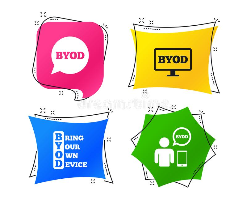 BYOD signs. Human with notebook and smartphone. Vector. BYOD icons. Human with notebook and smartphone signs. Speech bubble symbol. Geometric colorful tags royalty free illustration
