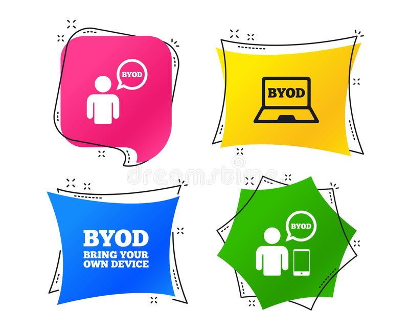 BYOD signs. Human with notebook and smartphone. Vector. BYOD icons. Human with notebook and smartphone signs. Speech bubble symbol. Geometric colorful tags vector illustration