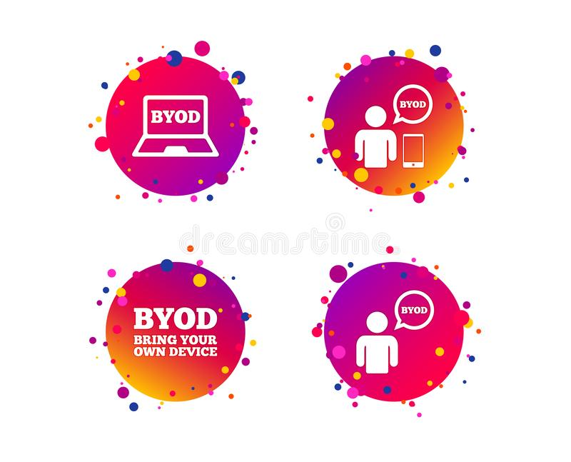 BYOD signs. Human with notebook and smartphone. Vector. BYOD icons. Human with notebook and smartphone signs. Speech bubble symbol. Gradient circle buttons with stock illustration