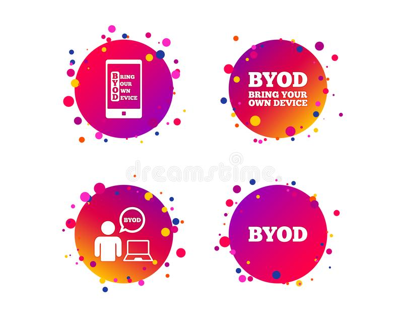 BYOD signs. Human with notebook and smartphone. Vector. BYOD icons. Human with notebook and smartphone signs. Speech bubble symbol. Gradient circle buttons with royalty free illustration