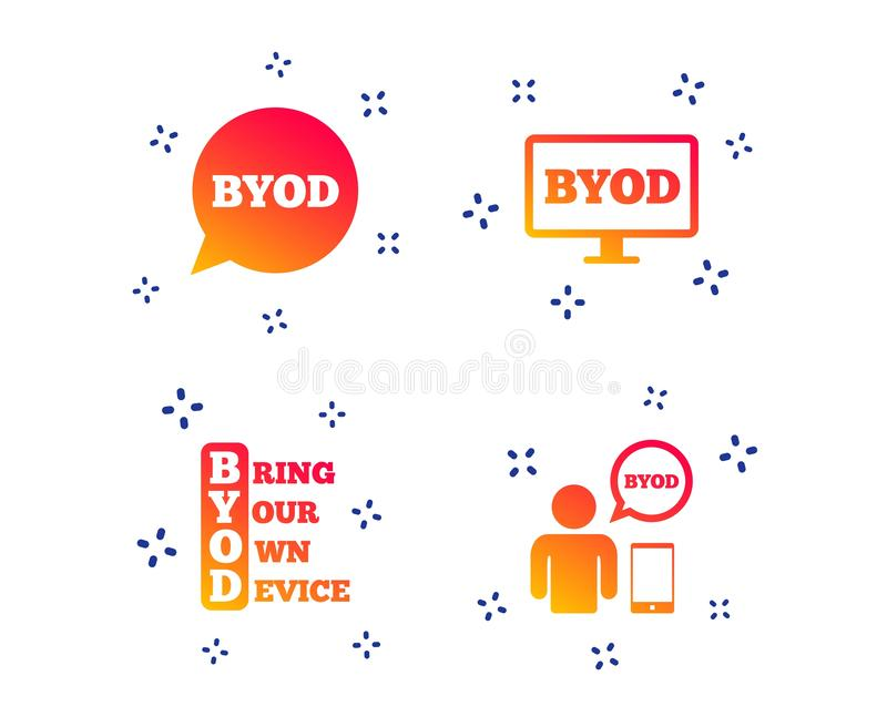BYOD signs. Human with notebook and smartphone. Vector. BYOD icons. Human with notebook and smartphone signs. Speech bubble symbol. Random dynamic shapes stock illustration
