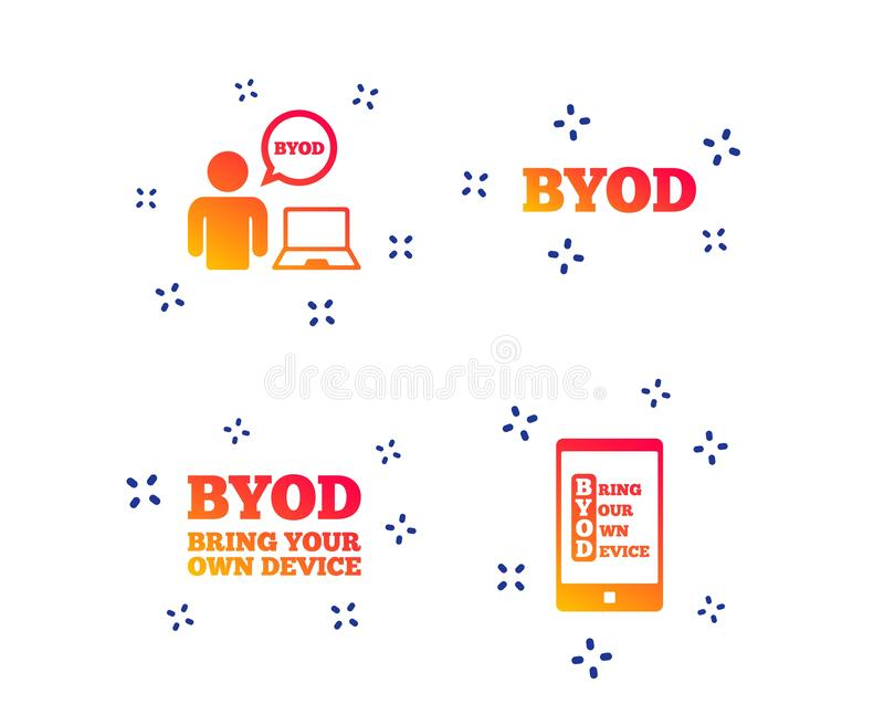 BYOD signs. Human with notebook and smartphone. Vector. BYOD icons. Human with notebook and smartphone signs. Speech bubble symbol. Random dynamic shapes royalty free illustration
