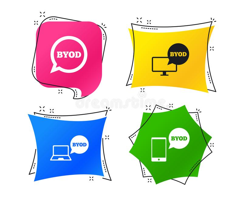 BYOD signs. Notebook and smartphone icons. Vector. BYOD icons. Notebook and smartphone signs. Speech bubble symbol. Geometric colorful tags. Banners with flat vector illustration