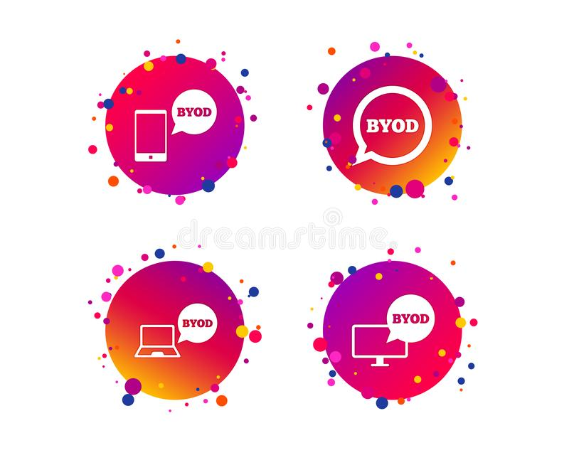 BYOD signs. Notebook and smartphone icons. Vector. BYOD icons. Notebook and smartphone signs. Speech bubble symbol. Gradient circle buttons with icons. Random vector illustration