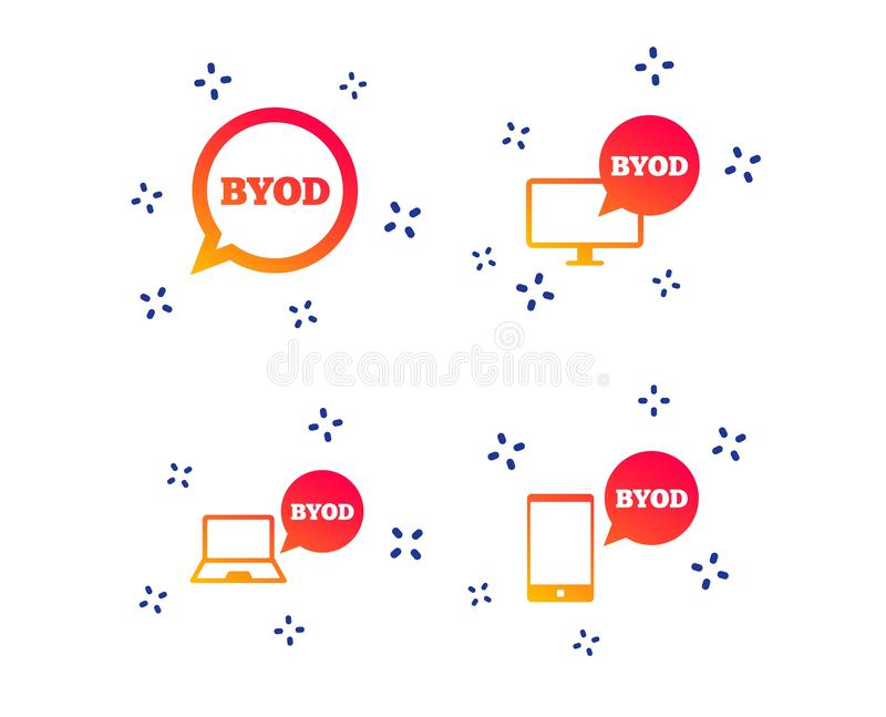 BYOD signs. Notebook and smartphone icons. Vector. BYOD icons. Notebook and smartphone signs. Speech bubble symbol. Random dynamic shapes. Gradient byod icon stock illustration