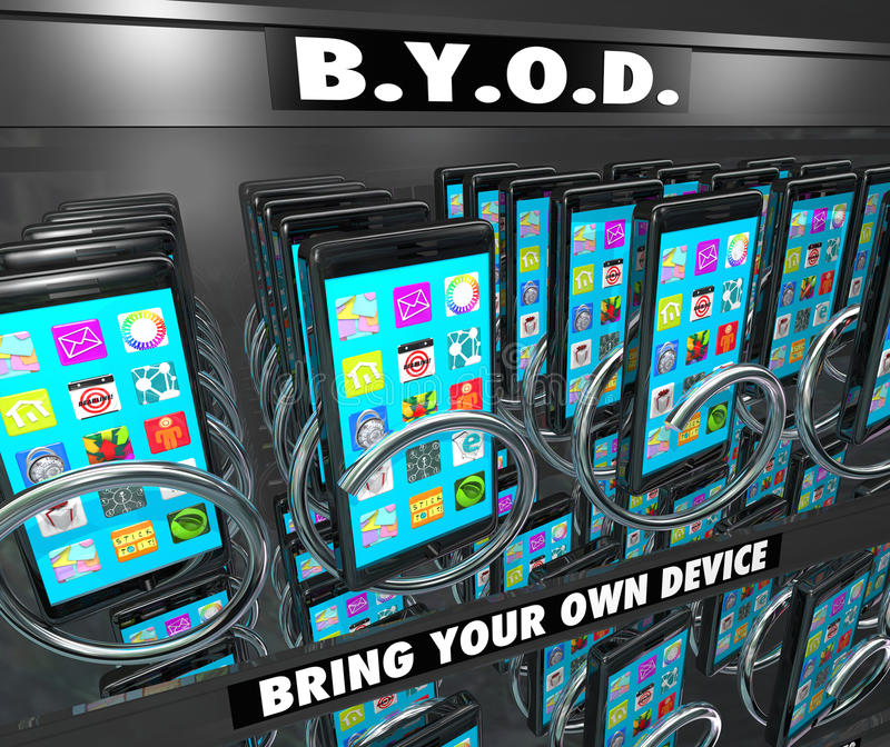 BYOD Smart Cell Phone Vending Machine Bring Your Own Device. BYOD Bring Your Own Device words on a smart cell phone vending machine to illustrate a company vector illustration