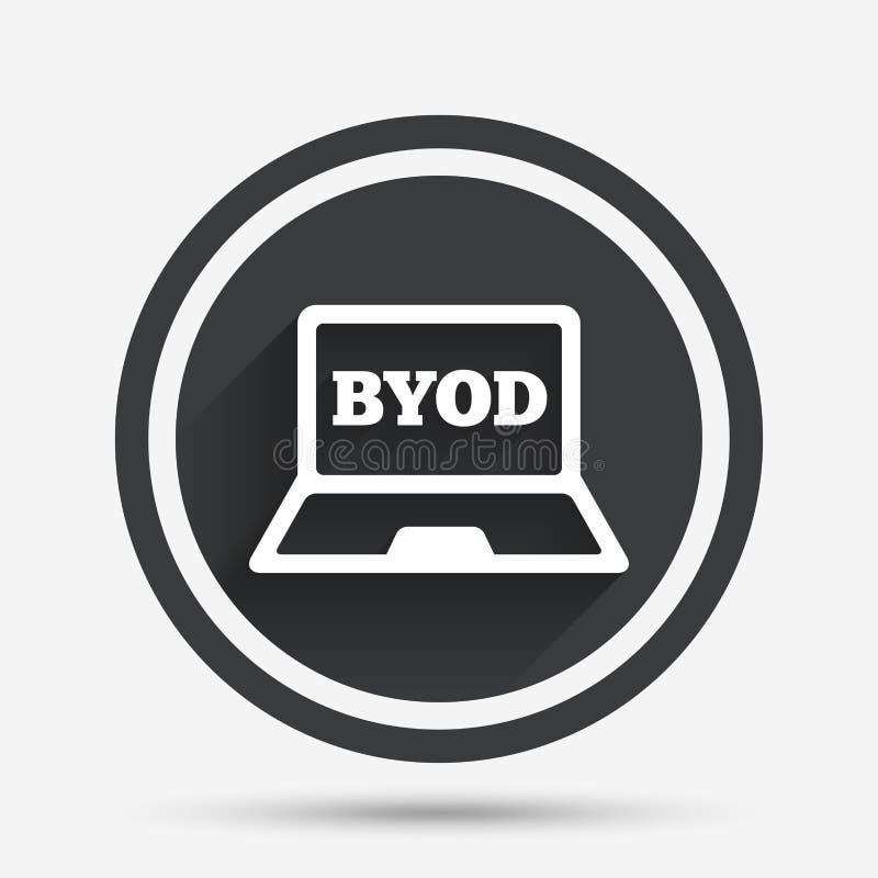 BYOD-tekenpictogram Breng uw eigen apparatensymbool stock illustratie