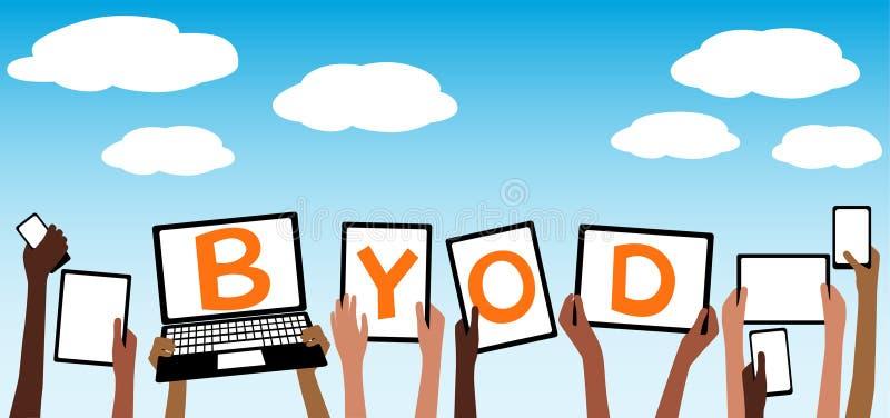 BYOD traen su propia tableta del dispositivo en las manos SK azul stock de ilustración