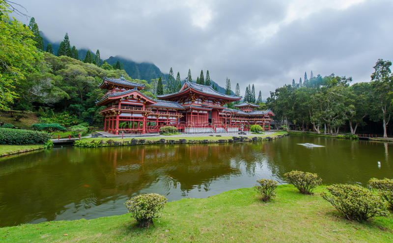 Byodo在寺庙,寺庙的谷,夏威夷 库存图片