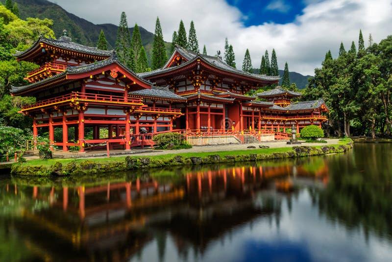Byodo在有一个池塘的日本寺庙前面的,瓦胡岛 免版税库存照片