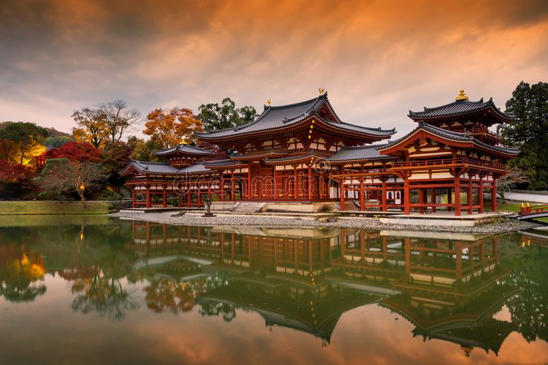 Byodo-in& x27;s Phoenix hall at dusk in autumn royalty free stock images