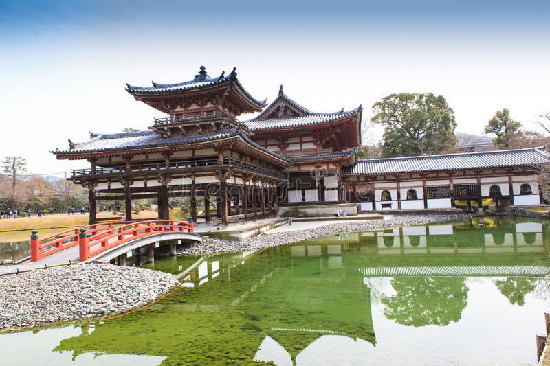 Byodoin Temple in winter season, Japan. Uji, Kyoto, Japan - famous Byodo-in Buddhist temple, a UNESCO World Heritage Site. Phoenix Hall building royalty free stock photo