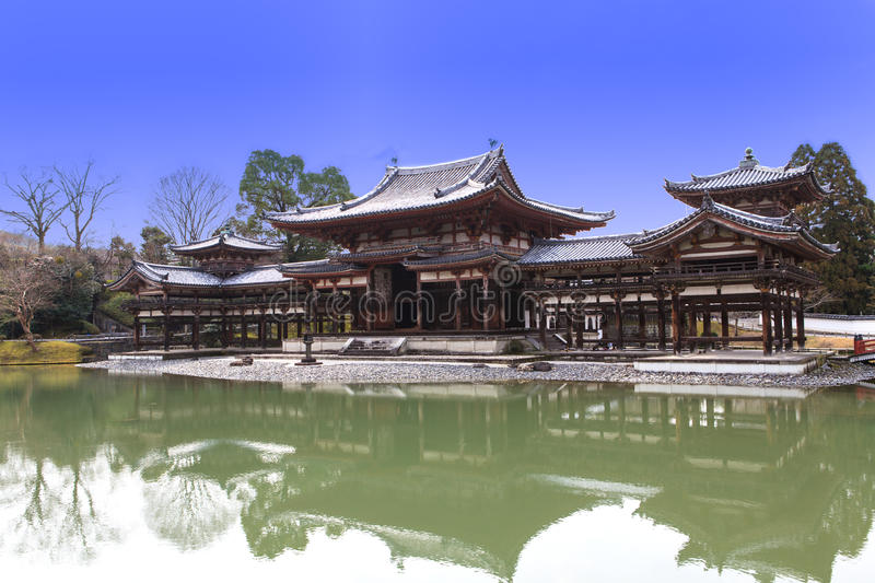 Byodoin Temple in winter season, Japan. Uji, Kyoto, Japan - famous Byodo-in Buddhist temple, a UNESCO World Heritage Site. Phoenix Hall building stock image