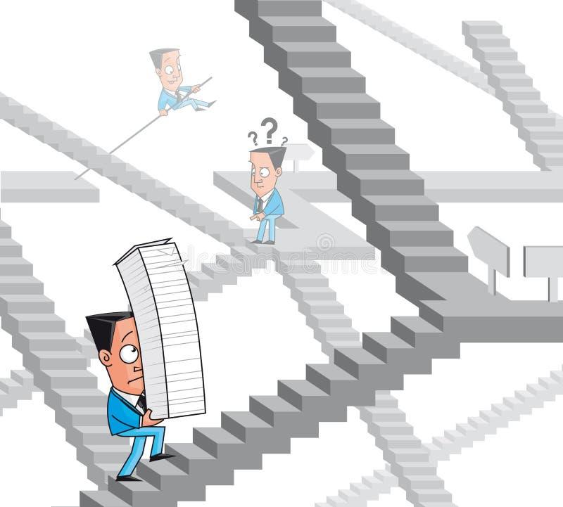 Byråkratimaze vektor illustrationer