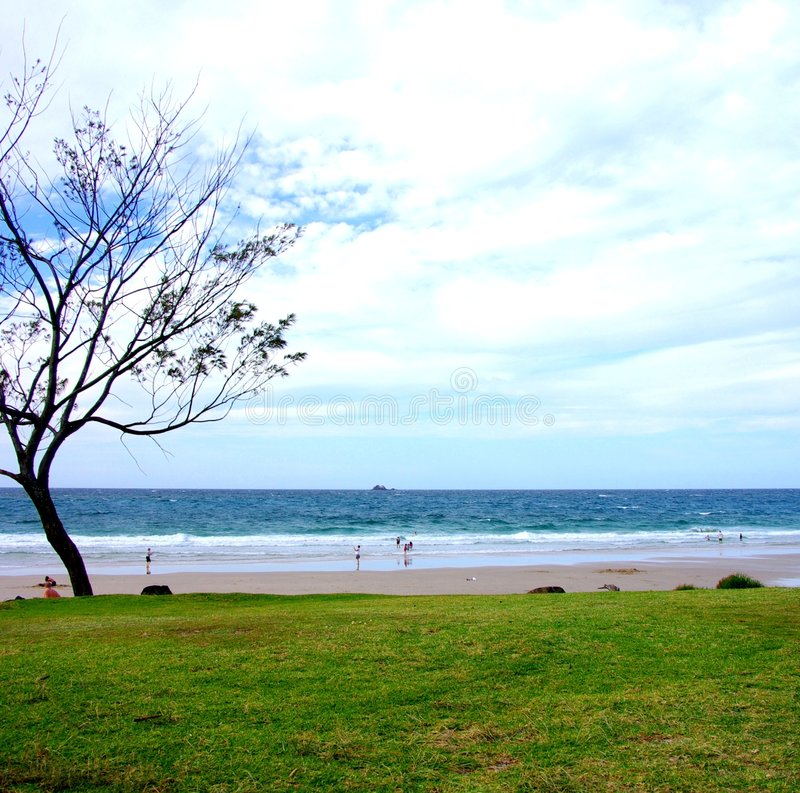 Byron Bay Beach. The beach at the popular holiday destination of Byron Bay, on the Northern New South Wales coast (Australia stock image