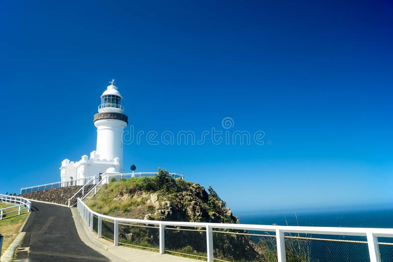 Byron Bay Lighthouse Australia. The Byron Bay lighthouse in New South Wales in Australia with the blue and clear skies in the background stock photography