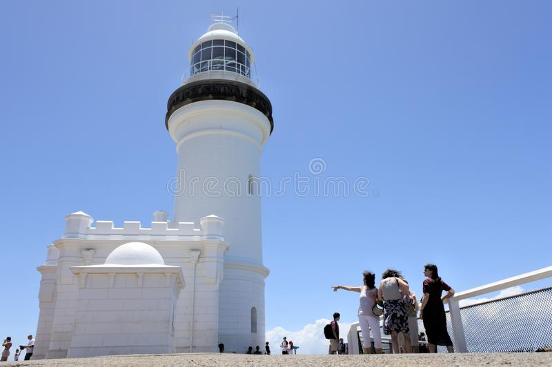 Byron Bay Lighthouse Lookout New South Wales, Australia. Visitors at Byron Bay lighthouse lookout in New South Wales, Australia. It is Australias most powerful royalty free stock photography