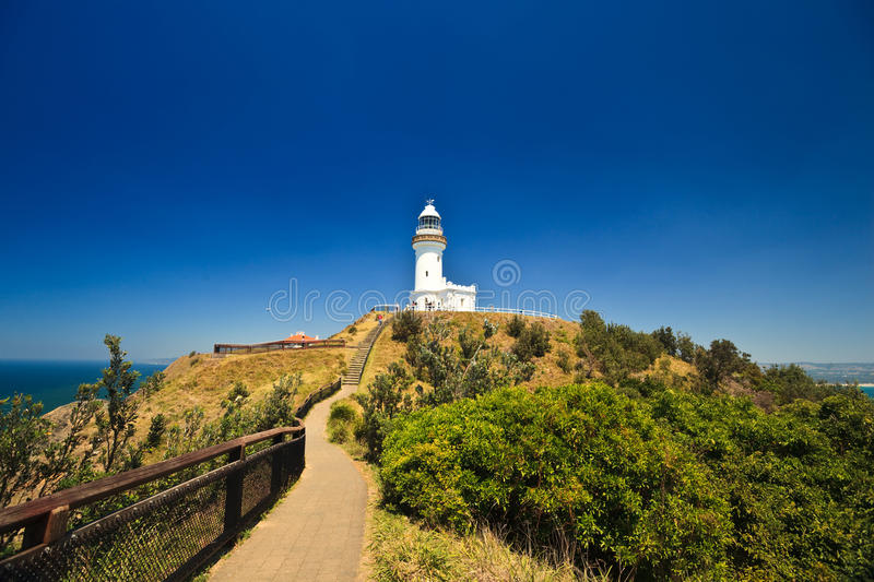 Download Byron Bay Lighthouse Silhouetted In Blue Sky Stock Image - Image: 13009153