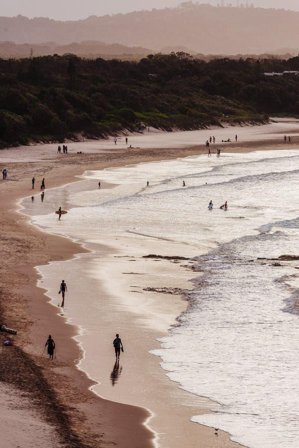 Byron Beach en la oscuridad, Byron Bay, Australia fotos de archivo