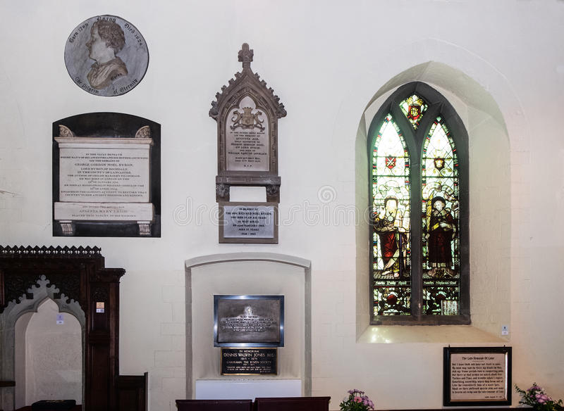 Byron family vault at Hucknall. Memorials to the Byron family members,Lord Byron the poet and his daughter Ada, Countess of Lovelace at St Mary Magdalene church royalty free stock photography