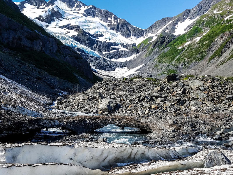 Byron Glacier wordt gevestigd dichtbij Portage-Gletsjer in Girdwood, Alaska stock afbeelding