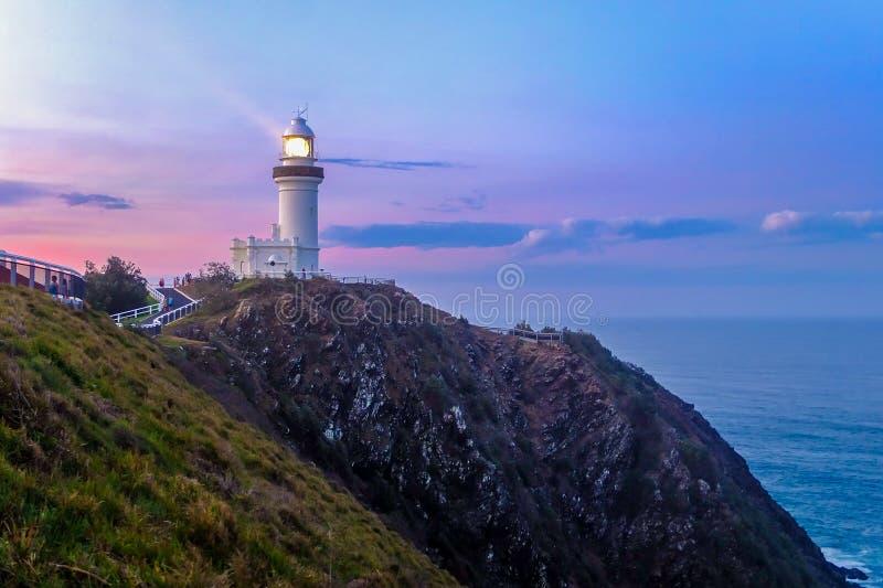 Byron Podpalana latarnia morska fotografia royalty free
