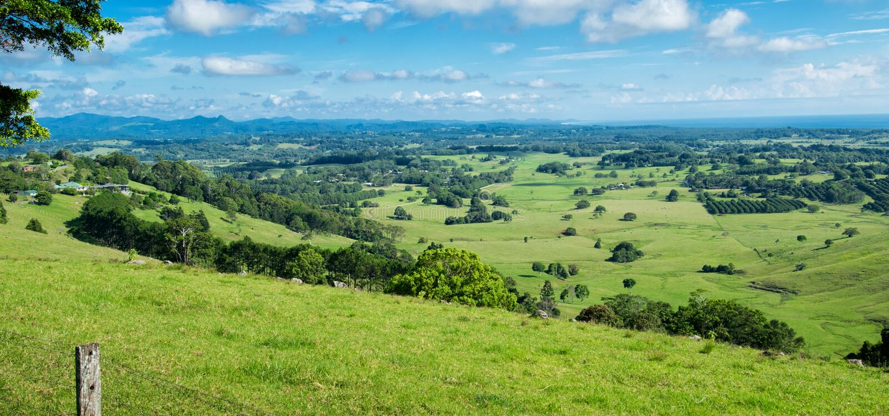 Byron Shire-landschap in de zomer stock foto