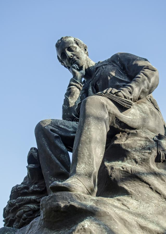 Byron Statue, Park Lane, Londen stock afbeelding