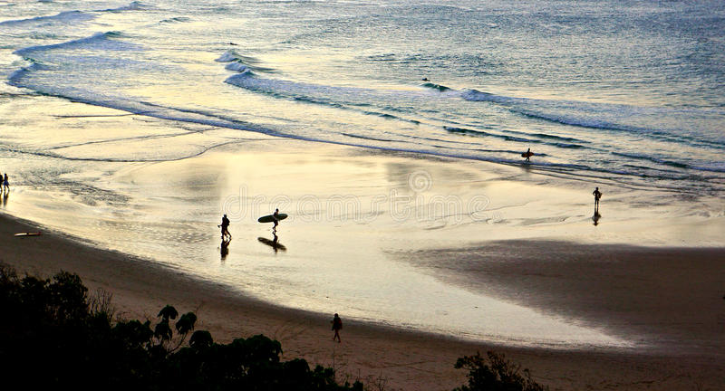 Byron Sunset Surfers. Evening surf in Byron Bay stock photography