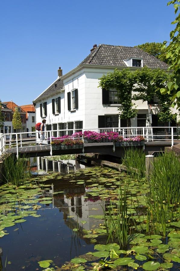 Bysikt med kanalen, vatten, färgrika blommor royaltyfri bild