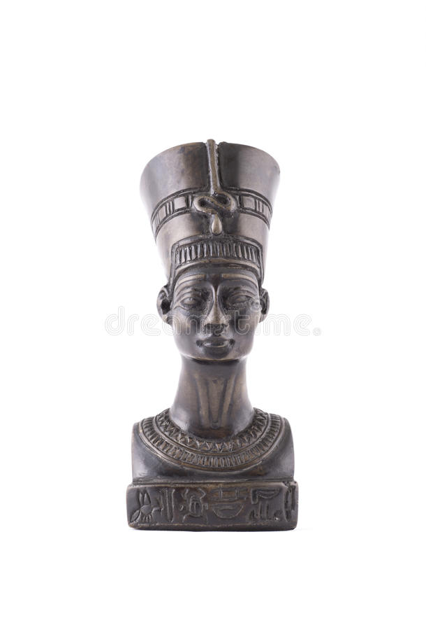 Byst av drottningen Nefertiti på vit bakgrund arkivfoto
