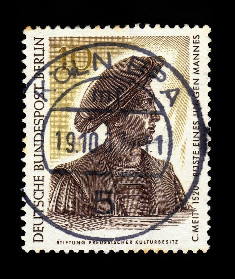 Byst av en ung man av Conrad Meit, miniatyr royaltyfria foton