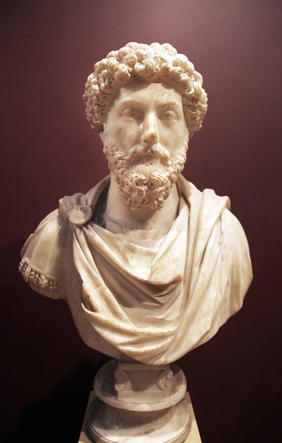 Byst av kejsaren Marcus Aurelius arkivbilder