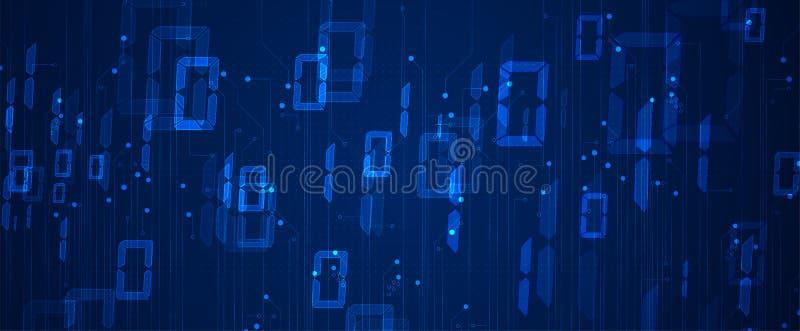 Byte av körningen för binär kod till och med nätverk Abstrakt futuristisk teknologisyberspace vektor illustrationer