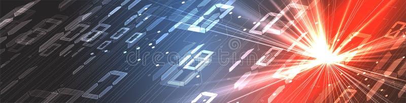 Byte av körningen för binär kod till och med nätverk Abstrakt futuristisk teknologisyberspace stock illustrationer