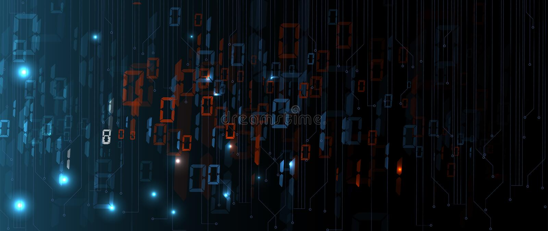 Byte av körningen för binär kod till och med nätverk Abstrakt futuristisk teknologisyberspace royaltyfri illustrationer