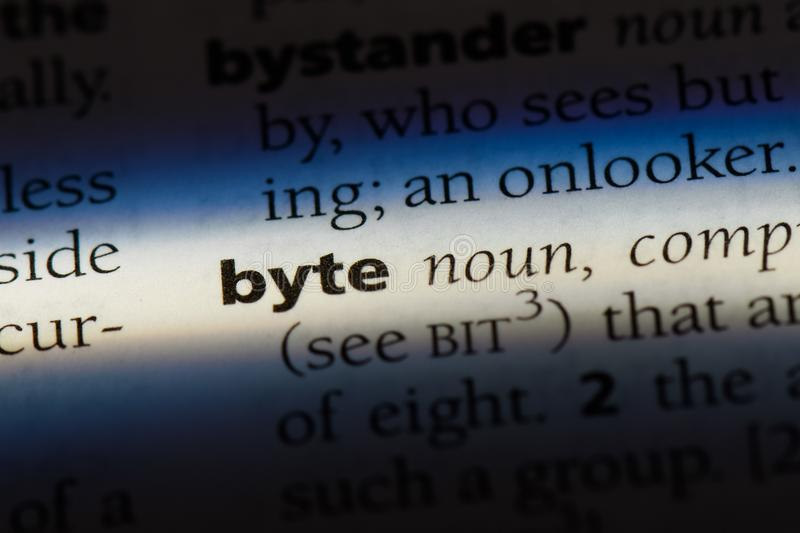 Byte. Word in a dictionary.  concept stock image